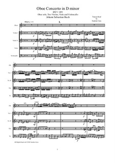 Concerto for Oboe and Orchestra in D Minor, BWV 1059: Version for oboe and string quartet by Johann Sebastian Bach