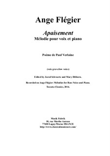 Apaisement: For low voice and piano by Ange Flégier