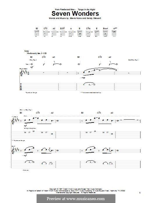 Seven Wonders (Fleetwood Mac): For guitar with tab by Sandy Stewart