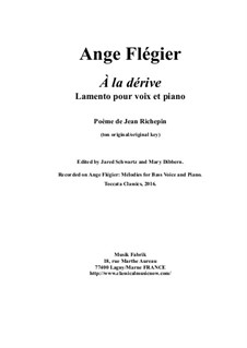 À la dérive: For baritone voice and piano by Ange Flégier