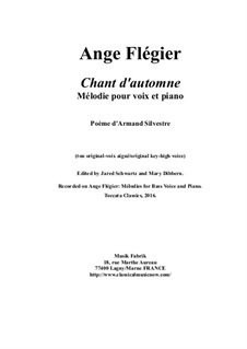 Chant d'Automne: For high voice and piano by Ange Flégier