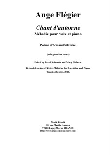 Chant d'Automne: For bass voice and piano by Ange Flégier