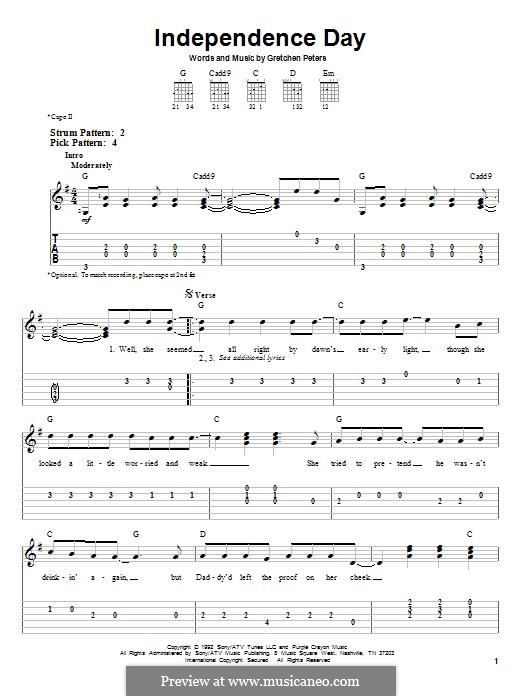 Independence Day: For guitar with tab by Gretchen Peters