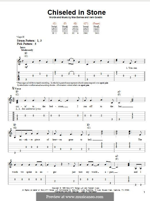 Chiseled in Stone: For guitar with tab by Max Barnes