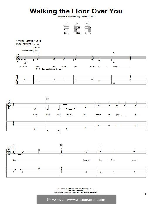 Good Walking The Floor Over You: For Guitar With Tab By Ernest Tubb