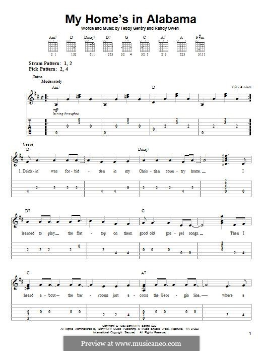 My Home's in Alabama: For guitar with tab by Randy Owen, Teddy Gentry