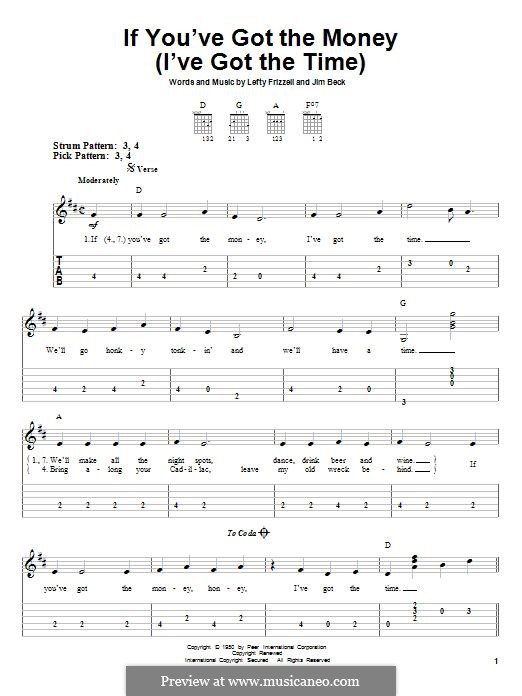 If You've Got the Money / I've Got the Time (Lefty Frizzell): For guitar with tab by Jim Beck