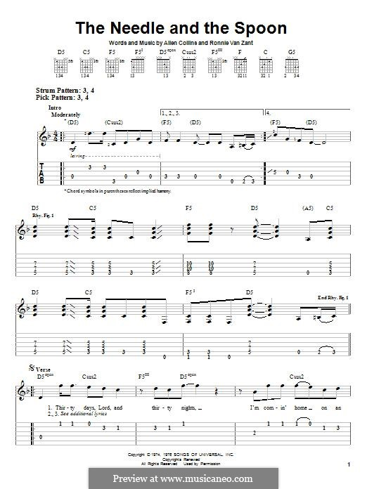 The Needle and The Spoon (Lynyrd Skynyrd): For guitar with tab by Allen Collins, Ronnie Van Zant
