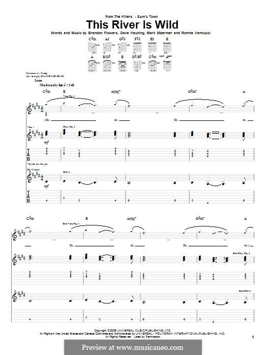 This River is Wild (The Killers): For guitar with tab by Brandon Flowers, Dave Keuning, Mark Stoermer, Ronnie Vannucci