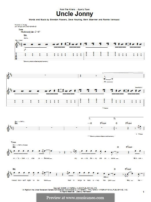 Uncle Jonny (The Killers): For guitar with tab by Brandon Flowers, Dave Keuning, Mark Stoermer, Ronnie Vannucci
