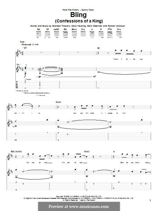 Bling (Confession of a King): For guitar with tab by Brandon Flowers, Dave Keuning, Mark Stoermer, Ronnie Vannucci