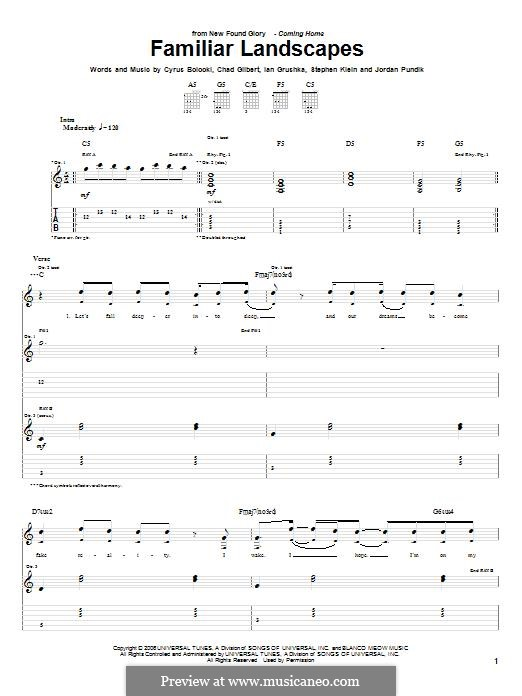 Familiar Landscapes (New Found Glory): For guitar with tab by Chad Gilbert, Cyrus Bolooki, Ian Grushka, Jordan Pundik, Stece Klein