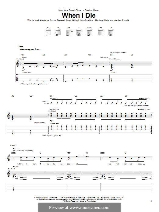 When I Die (New Found Glory): For guitar with tab by Chad Gilbert, Cyrus Bolooki, Ian Grushka, Jordan Pundik, Stece Klein