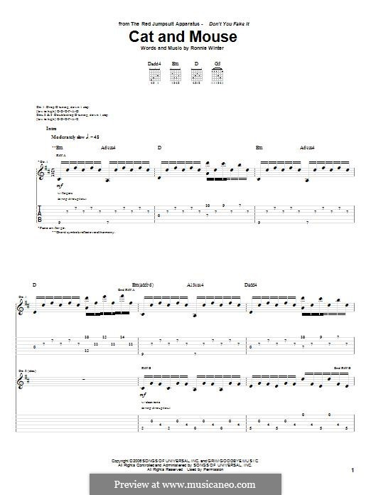 Cat and Mouse (The Red Jumpsuit Apparatus): For guitar with tab by Ronnie Winter