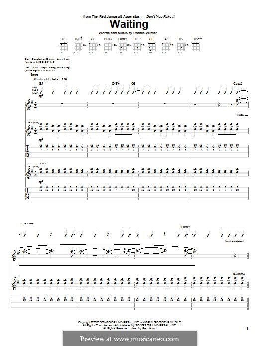 Waiting (The Red Jumpsuit Apparatus): For guitar with tab by Ronnie Winter