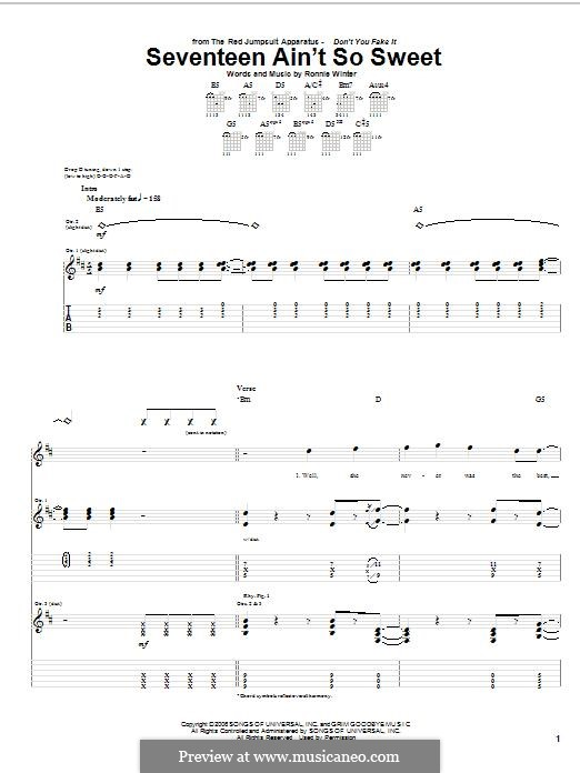 Seventeen ain't So Sweet (The Red Jumpsuit Apparatus): For guitar with tab by Ronnie Winter
