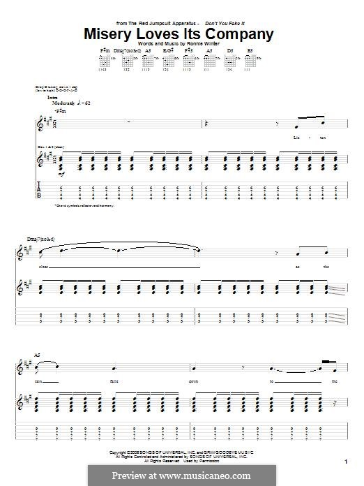 Misery Loves Its Company (The Red Jumpsuit Apparatus): For guitar with tab by Ronnie Winter