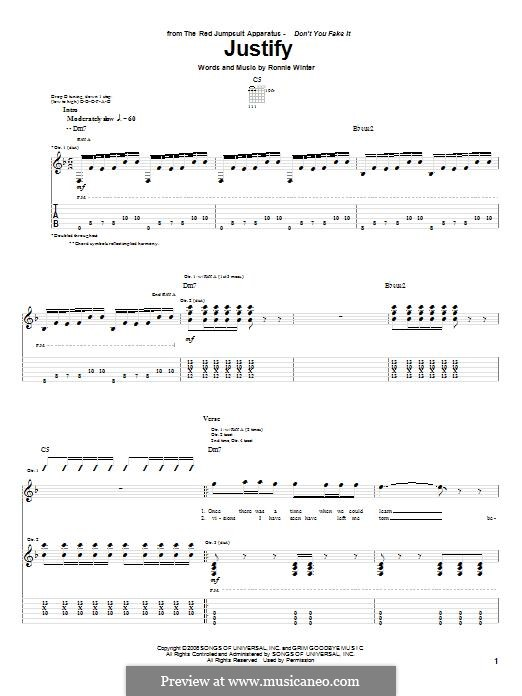 Justify (The Red Jumpsuit Apparatus): For guitar with tab by Ronnie Winter