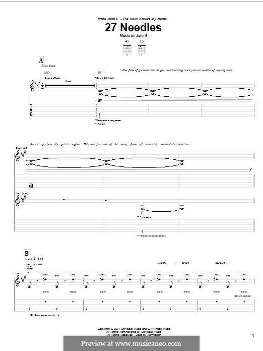 27 Needles: For guitar with tab by John 5