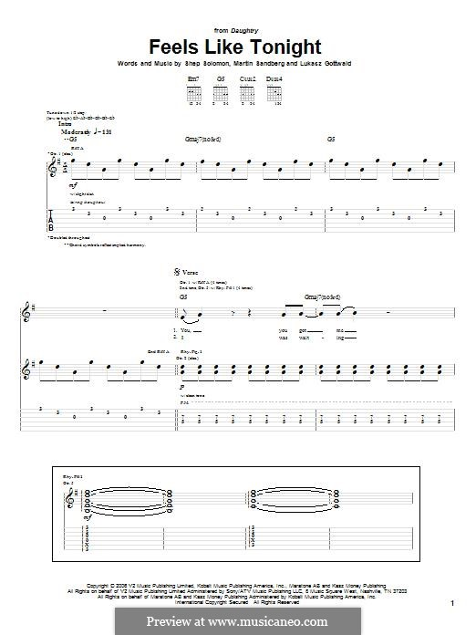 Feels Like Tonight (Daughtry): For guitar with tab by Lukas Gottwald, Max Martin, Sheppard Solomon