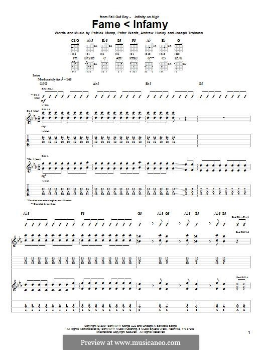 Fame < Infamy (Fall Out Boy): For guitar with tab by Andrew Hurley, Joseph Trohman, Patrick Stump, Peter Wentz