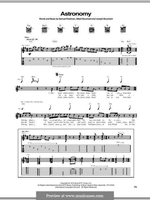 Astronomy: For guitar with tab (Blue Oyster Cult) by Albert Bouchard, Joseph Bouchard, Sandy Pearlman