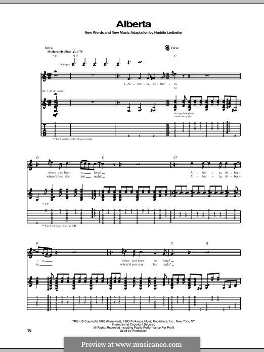 Alberta (Eric Clapton): For guitar with tab by Huddie Ledbetter