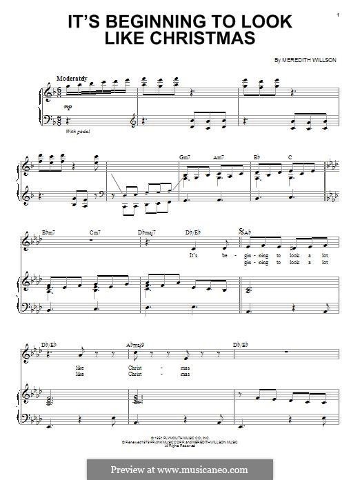 It's Beginning to Look a Lot Like Christmas (Perry Como): For voice and piano by Meredith Willson