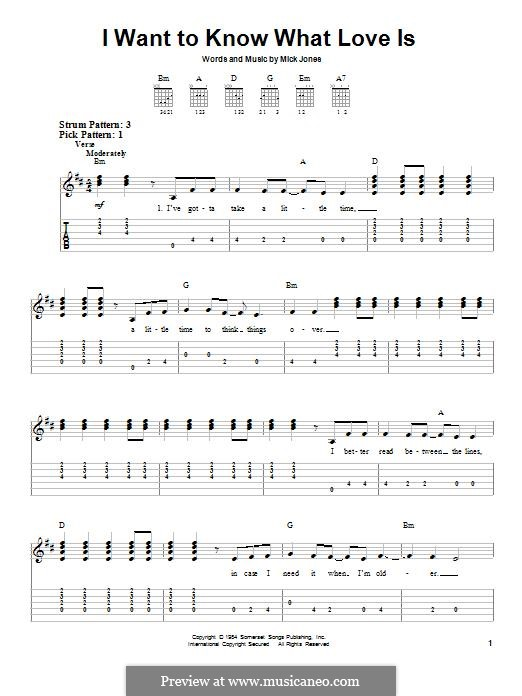 I Want to Know What Love Is (Foreigner): For guitar with tab by Mick Jones