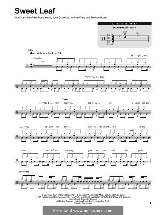 Sweet Leaf (Black Sabbath): Drum set by Geezer Butler, Ozzy Osbourne, Tony Iommi, Bill Ward