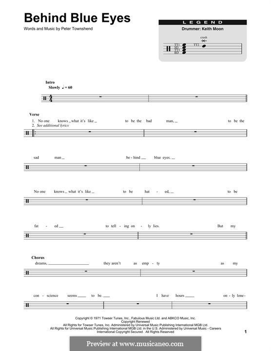 Behind Blue Eyes (Limp Bizkit): Drum set by Peter Townshend