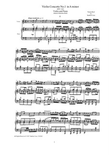 Concerto for Violin, Strings and Basso Continuo No.1 in A Minor, BWV 1041: Arrangement for violin and piano by Johann Sebastian Bach