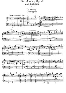 Two Melodies for String Orchestra, Op.53: Version for piano by Edvard Grieg