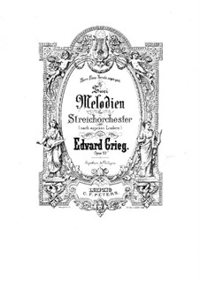 Two Melodies for String Orchestra, Op.53: Full score by Edvard Grieg