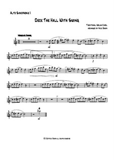 Deck the Hall with Swing: For saxophone quartet - alto sax I part by folklore