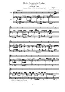Concerto for Harpsichord and Strings No.5 in F Minor, BWV 1056: Arrangement for violin and piano by Johann Sebastian Bach
