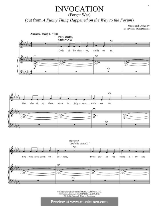Invocation (Forget War): For voice and piano by Stephen Sondheim