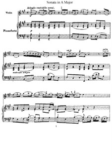 Sonata for Violin and Harpsichord in A Major, HWV 372 Op.1 No.14: Version for violin and piano by Georg Friedrich Händel