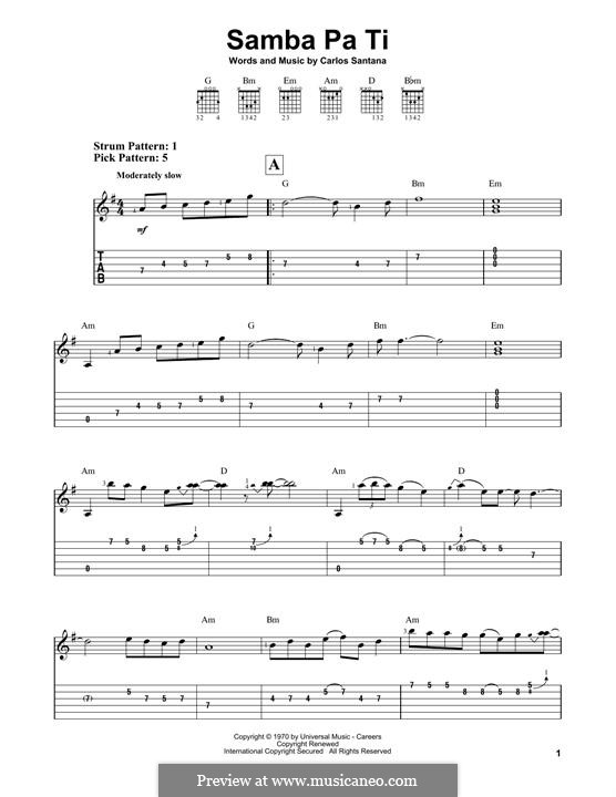 Samba Pa Ti (Santana): For guitar with tab by Carlos Santana