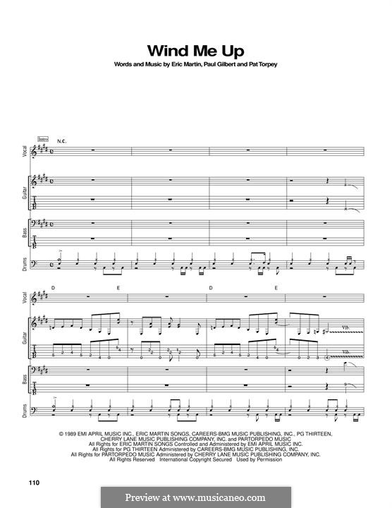 Wind Me Up (Mr. Big): For guitar with tab by Eric Martin, Pat Torpey, Paul Gilbert