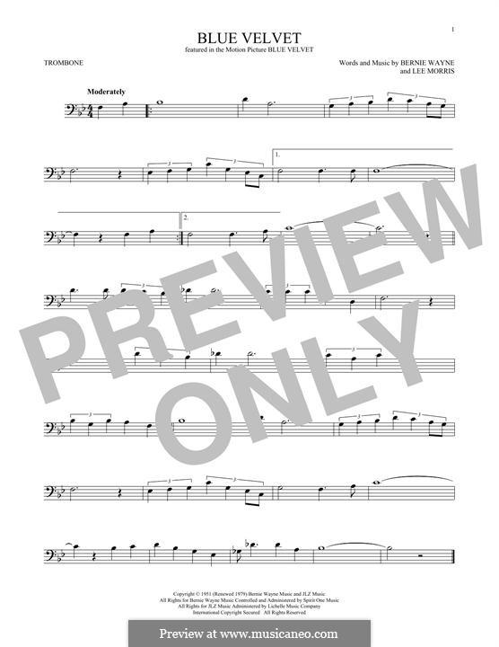 Blue Velvet: For trombone by Bernie Wayne, Lee Morris
