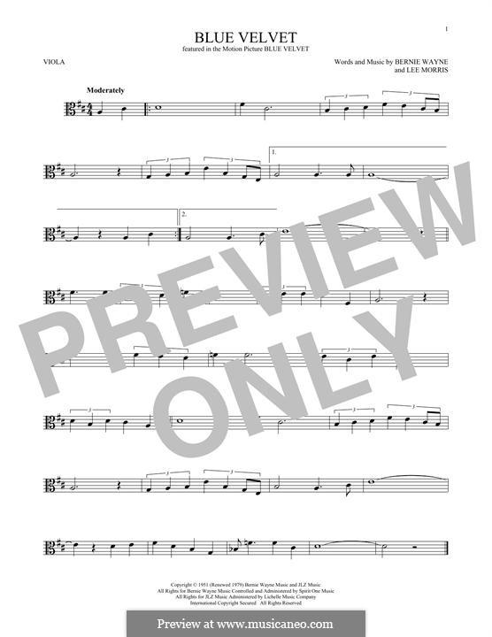 Blue Velvet: For viola by Bernie Wayne, Lee Morris