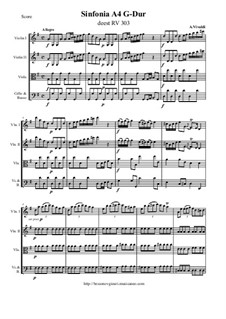 Sinfonia A4 G-Dur, deest RV 303: Score and parts by Antonio Vivaldi