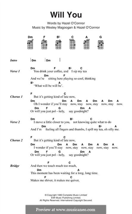 Will You (Hazel O'Connor): Lyrics and chords by Wesley Magoogan