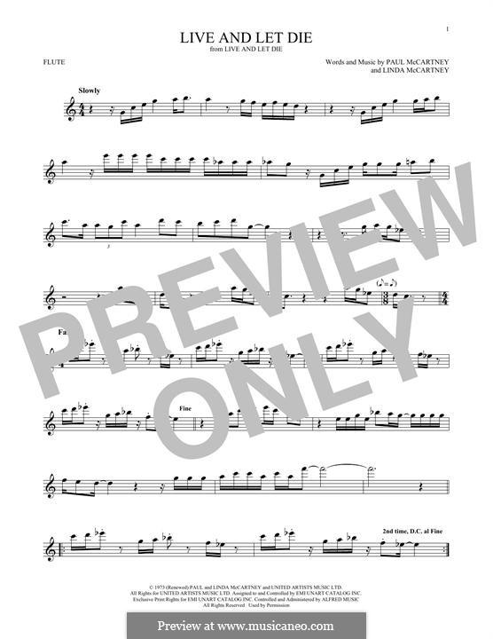 Live and Let Die (Wings): For flute by Linda McCartney, Paul McCartney