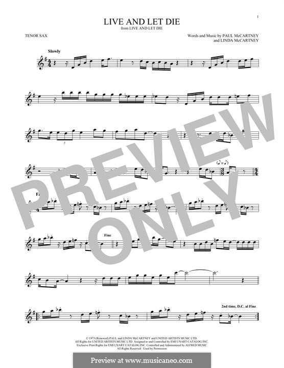 Live and Let Die (Wings): For tenor saxophone by Linda McCartney, Paul McCartney