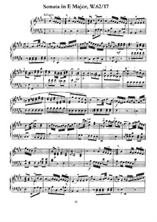Sonata for Keyboard in E Major, H 117 Wq 62:17: For a single performe by Carl Philipp Emanuel Bach