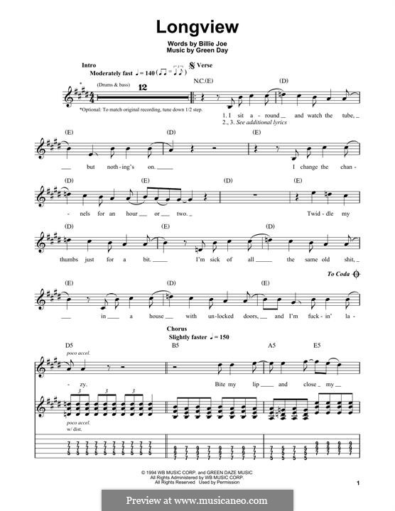 Longview (Green Day): For guitar with tab by Billie Joe Armstrong, Tré Cool, Michael Pritchard