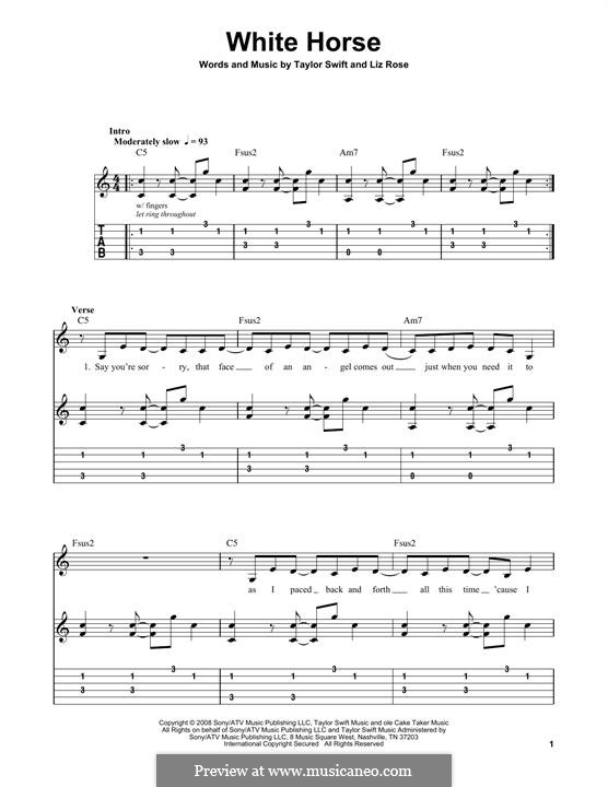 White Horse (Taylor Swift): For guitar with tab by Liz Rose