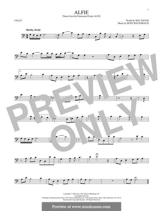 Alfie: For cello (Dionne Warwick) by Burt Bacharach